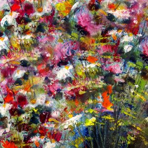 Colorful flowers, art painting on handmade paper, abstract background